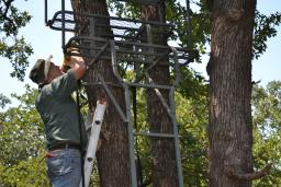 Putting up stands is a good summer project…but it's important to site your stands based on where you think the deer will be moving in the fall, not what they're actually doing during the hot summer months.