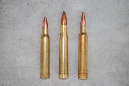 The .300 Winchester Magnum, left, shown with the .300 H&H and .300 Weatherby Magnum.  Introduced in 1963 as the replacement for the old-fashioned .300 H&H, the .300 Win. Mag. is faster than the H&H, but not as fast as the .300 Weatherby Magnum.  It is also much more available, and develops noticeably less recoil.