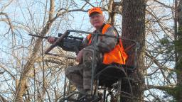 Yep, here I am in a Kansas deer stand with a modern sporting rifle! This particular rifle is a Turnbull LR308 in .308 Winchester, and it accounted for a nice buck from this stand. Why not?
