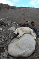 British Columbia outfitter Mike Hawkridge and the author with Boddington's most recent Rocky Mountain goat, taken at the tail end of a typically difficult goat hunt, requiring lots of climbing and just one opportunity.