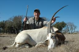 Jeff Wemmer with a really fine white oryx, taken on the Y.O. Ranch in the Texas Hill Country. Motivation for hunting these animals varies, but their value to hunters is the primary reason the herds have built up to present levels.